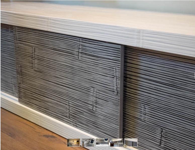parete soggiorno etnico in legno e crash bambu grigio e white in ...