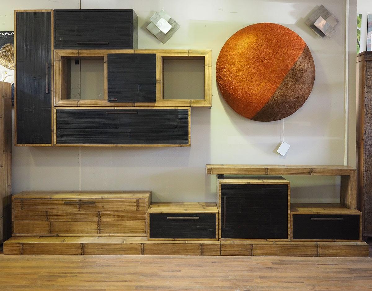 Parete soggiorno etnico in legno e crash bambu nuovimondi for Mobili soggiorno prezzi