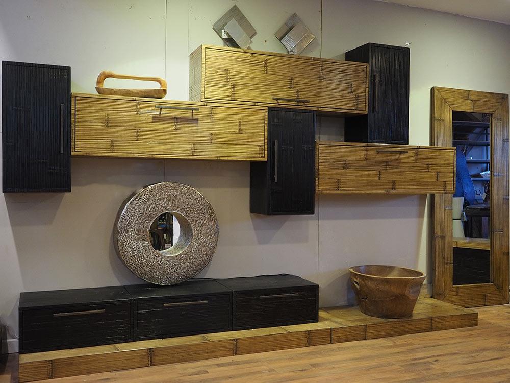 parete soggiorno in crash bambu miele e black e legno in offerta ... - Parete Soggiorno Attrezzata Offerte