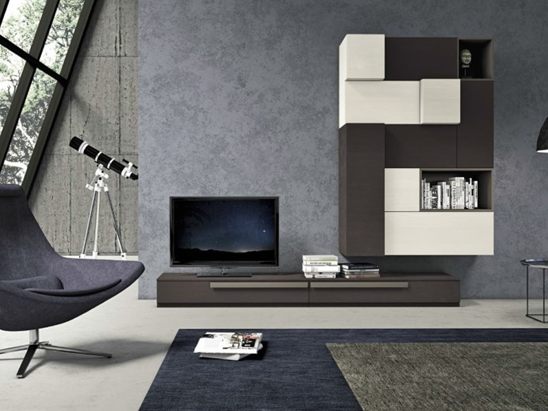 parete soggiorno in essenza grigio londra e frassino ardesia e white ...