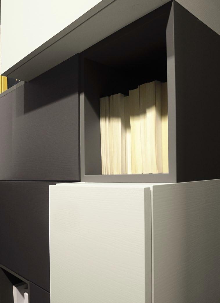 parete soggiorno in essenza grigio londra e frassino ardesia e white in offer...