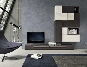 parete soggiorno in  essenza grigio londra e frassino ardesia e white