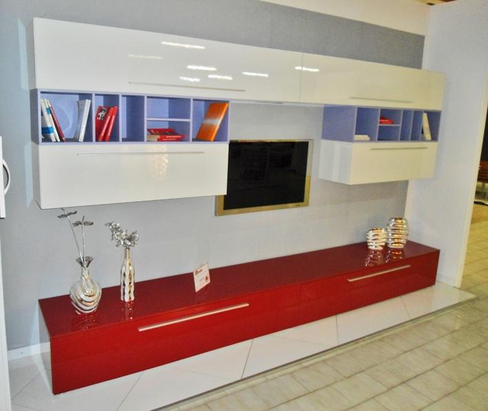 centro convenienza : CENTRO CONVENIENZA: PARETE SOGGIORNO LUCIDA BORDEAUX - BIANCA - 360 cm ...