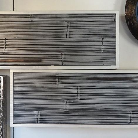 parete soggiorno minimal etnico in legno e crash bambu grigio e white ...