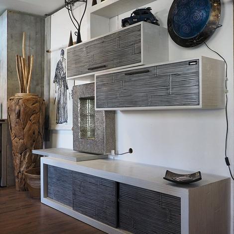 Parete soggiorno minimal etnico moderno in legno e crash bambu ...