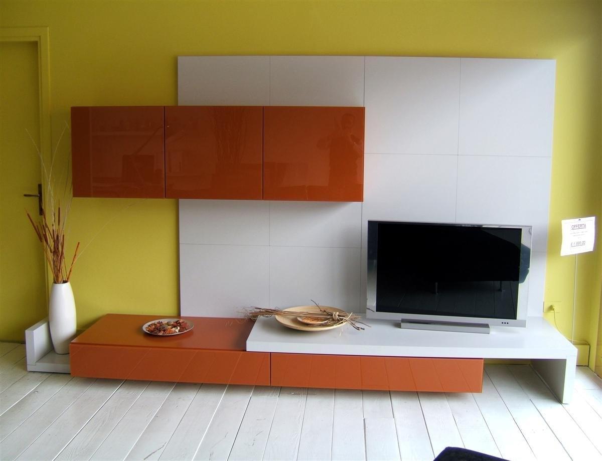Parete soggiorno moderna 3898 soggiorni a prezzi scontati - Parete giallo ocra ...