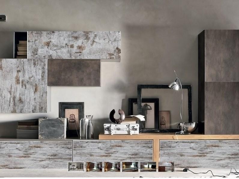 parete soggiorno moderno lineare vintage e seta bronzo con top essenza olmo  nature in offerta