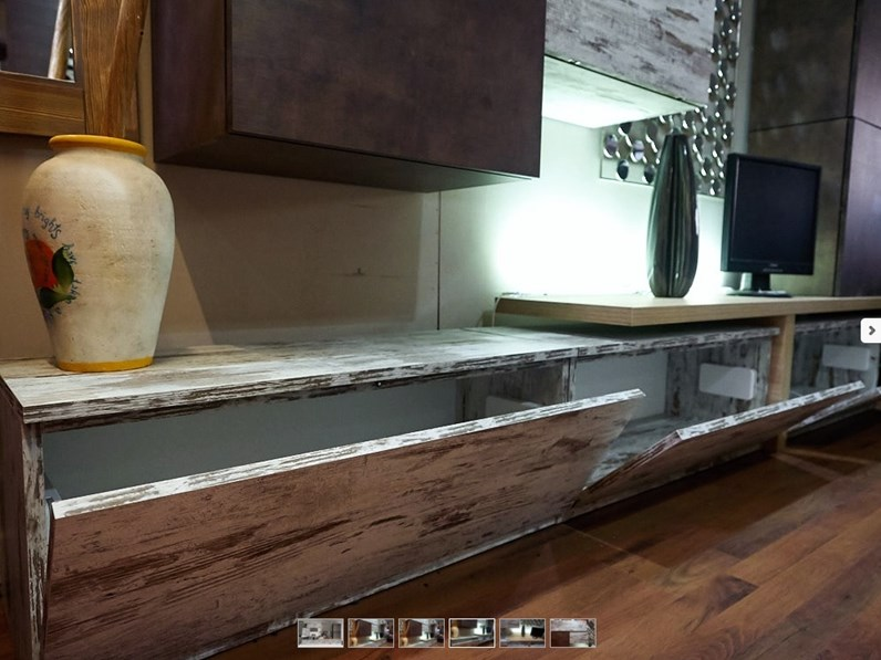 Parete soggiorno moderno lineare vintage e seta bronzo con for Composizione soggiorno moderno