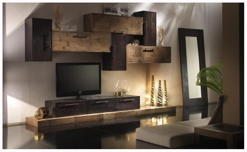 parete soggiorno modulare in crash bambu' - soggiorni a prezzi ... - Pareti Da Soggiorno Arredamento