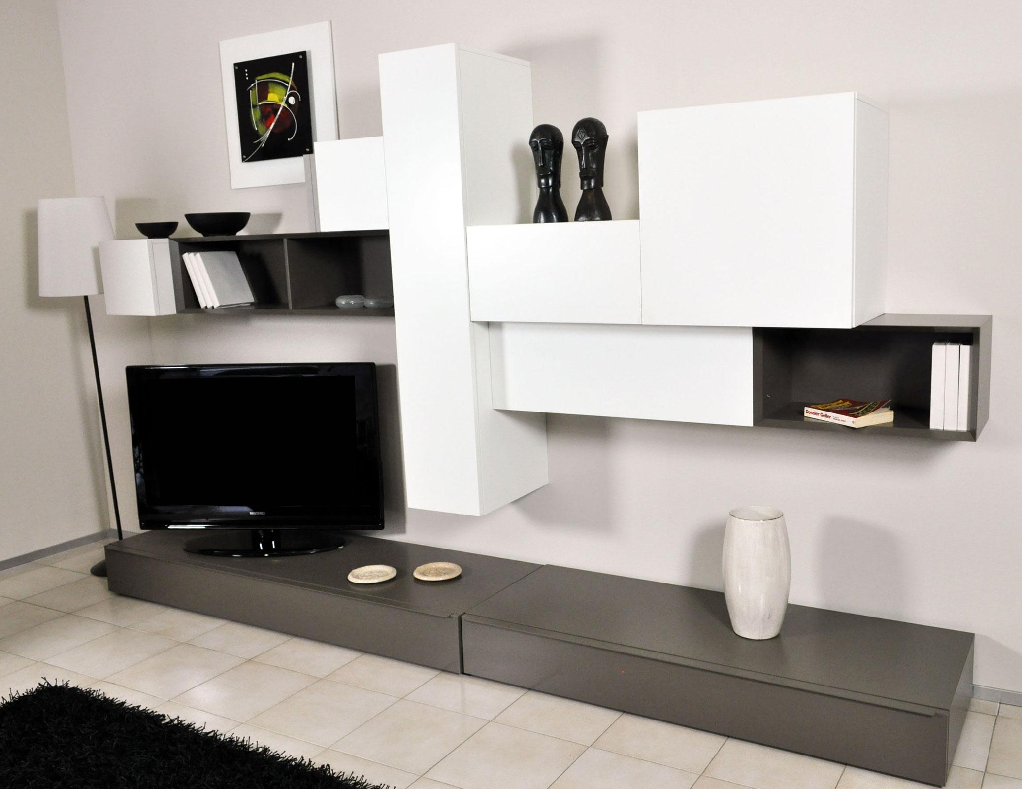 Parete soggiorno pianca componibile moderno prezzo saldo for Mobili da soggiorno moderni
