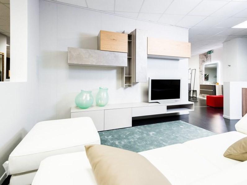 Parete soggiorno porta tv integra bianco rovere ed effetto