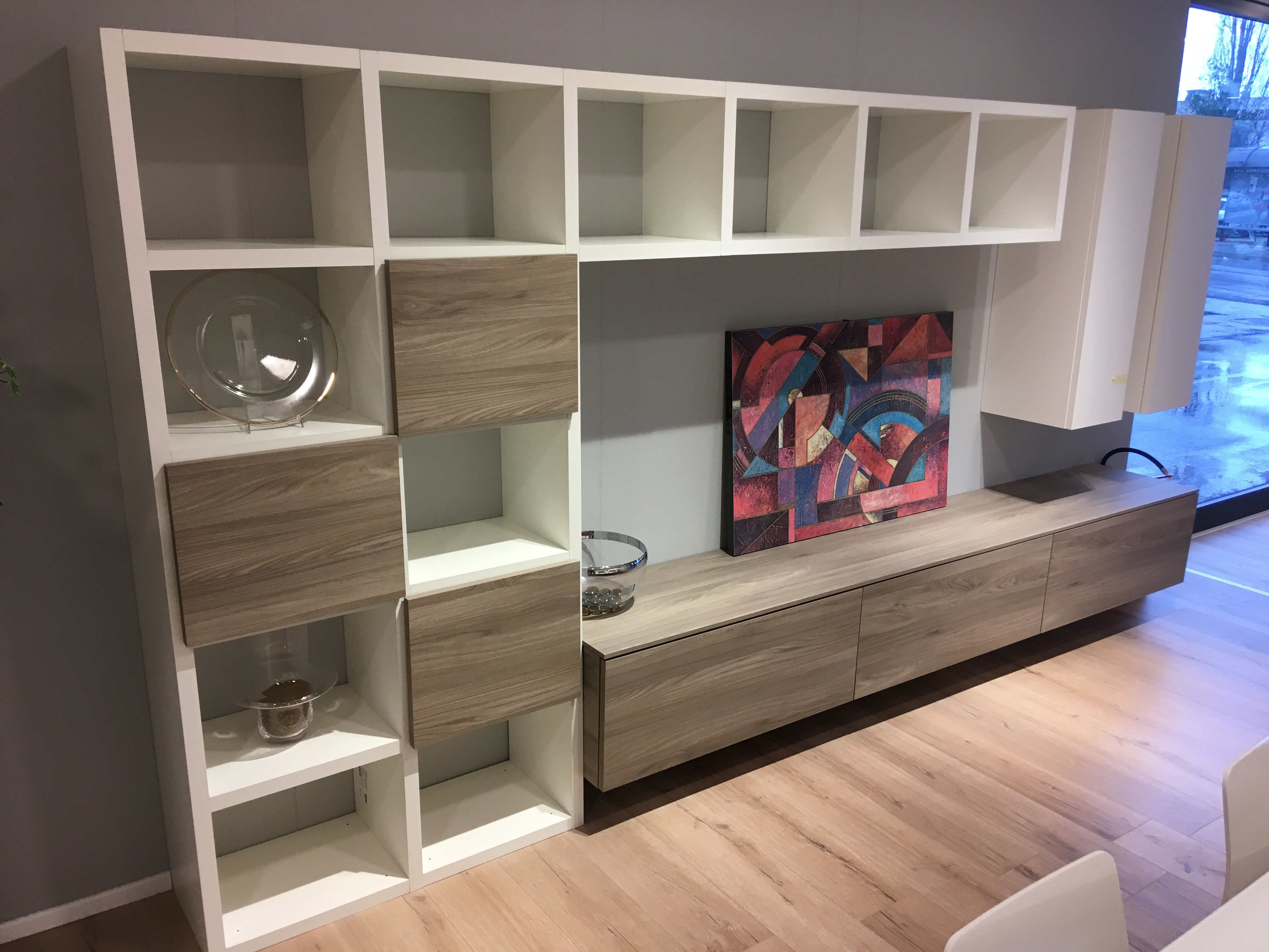 Parete soggiorno scavolini laminato materico 24 for Scavolini pareti attrezzate