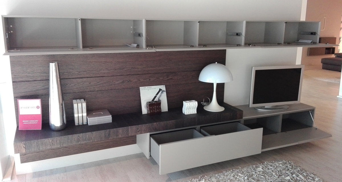Parete attrezzata soggiorno moderno Face Moore Modulnova - Soggiorni a prezzi...
