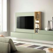 Pianca soggiorno spazio lucido fumo e rovere naturale