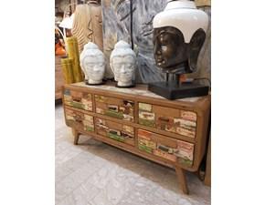 Porta tv Artigianale in legno Cassettiera colorata legno riciclato a prezzo Outlet