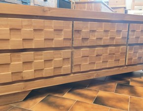 Porta tv Artigianale Teak massello intaglio a scacchiera PREZZI OUTLET