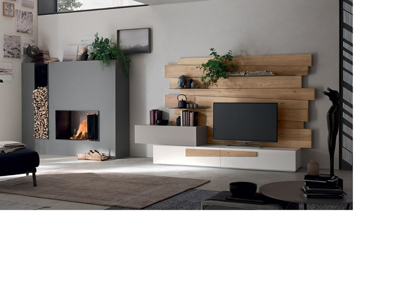 Porta tv design rovere maronese in legno in offerta outlet for Mobili di design in offerta