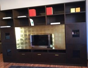 Porta tv in legno stile classico Foglia oro Besana