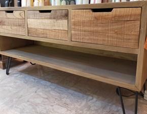 Porta tv in legno stile design Industrial legno massello Artigianale