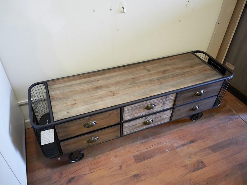 Porta tv in stile moderno outlet etnico in legno offerta for Etnico outlet