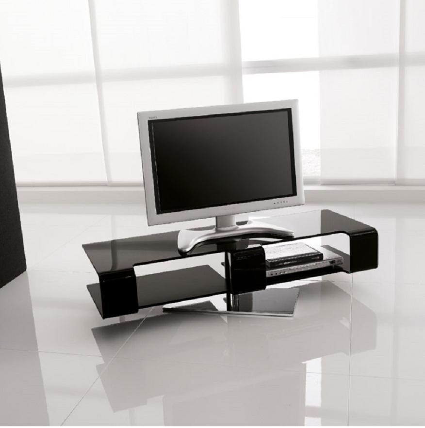 Porta tv modello bercy 7096 della tonin casa vetro nero - Porta tv nero ...