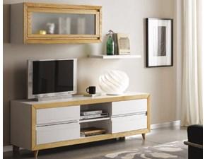 Porta tv Mottes mobili composizione porta tv con gambe tornite e pensile Artigianale OFFERTA OUTLET