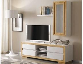 Porta tv Mottes mobili composizione porta tv con zoccolo e pensile Artigianale OFFERTA OUTLET