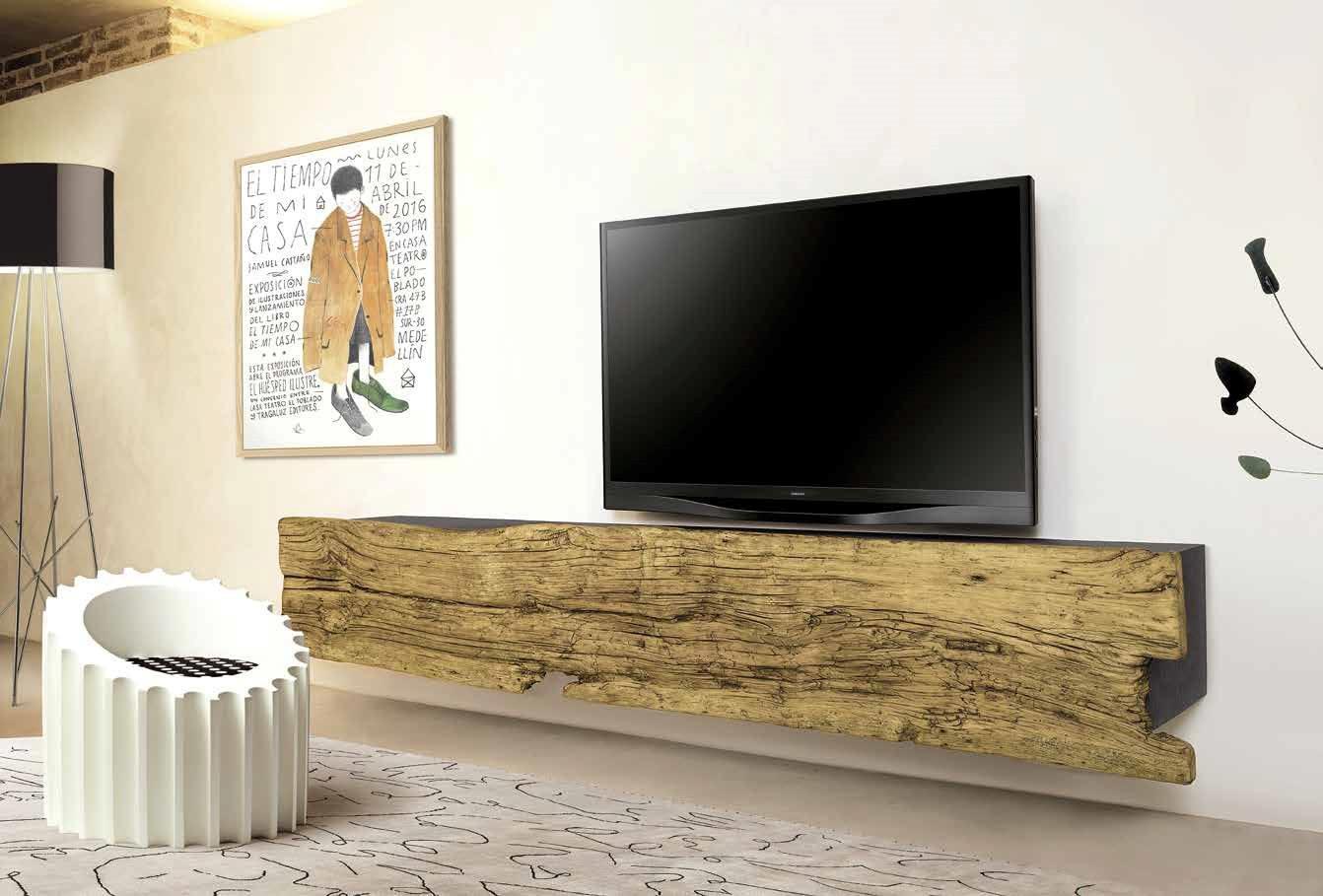 Porta tv nature design in legno vecchio soggiorni a - Mensola porta tv ...