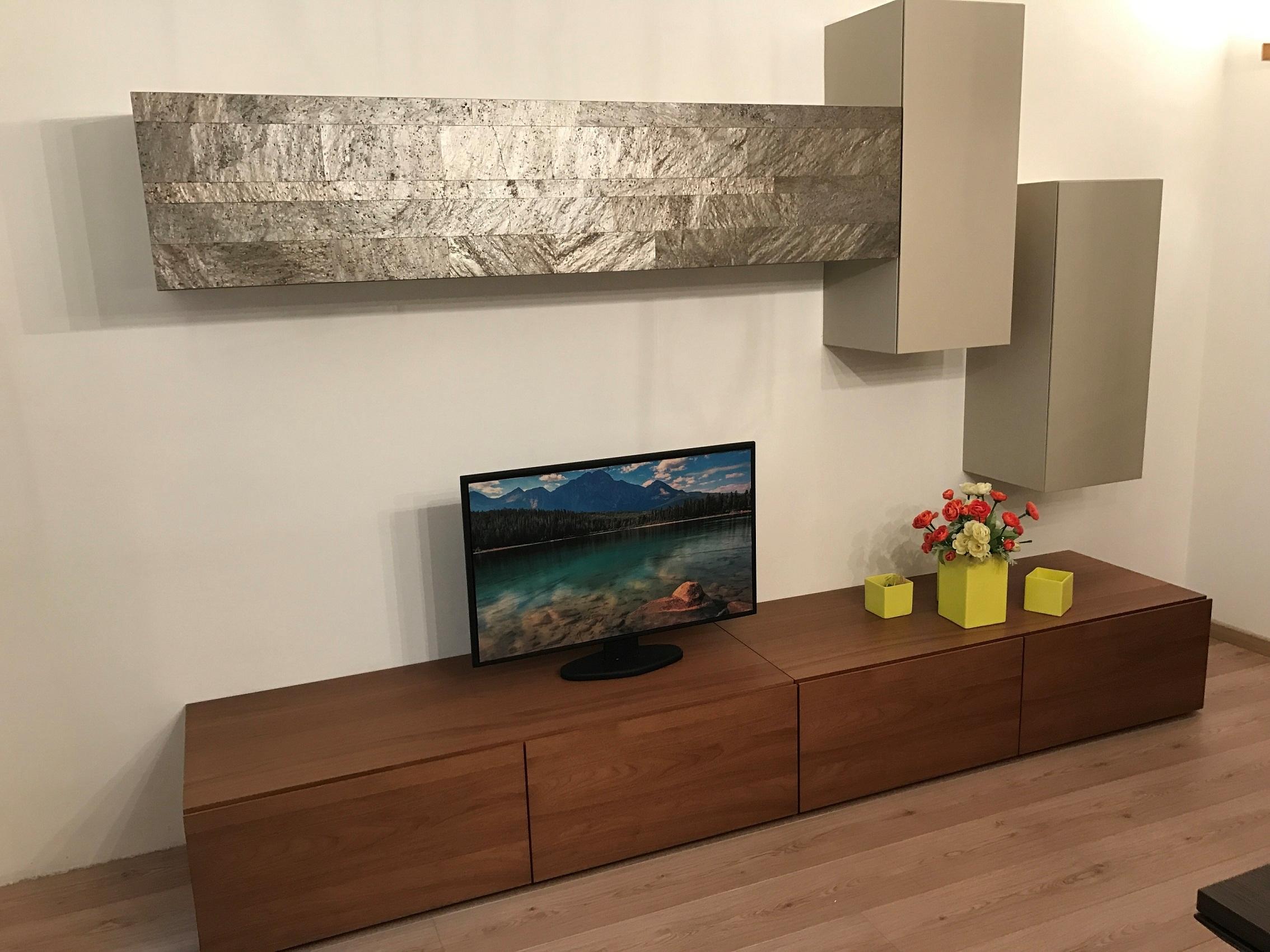 presotto italia soggiorno parete attrezzata pietra