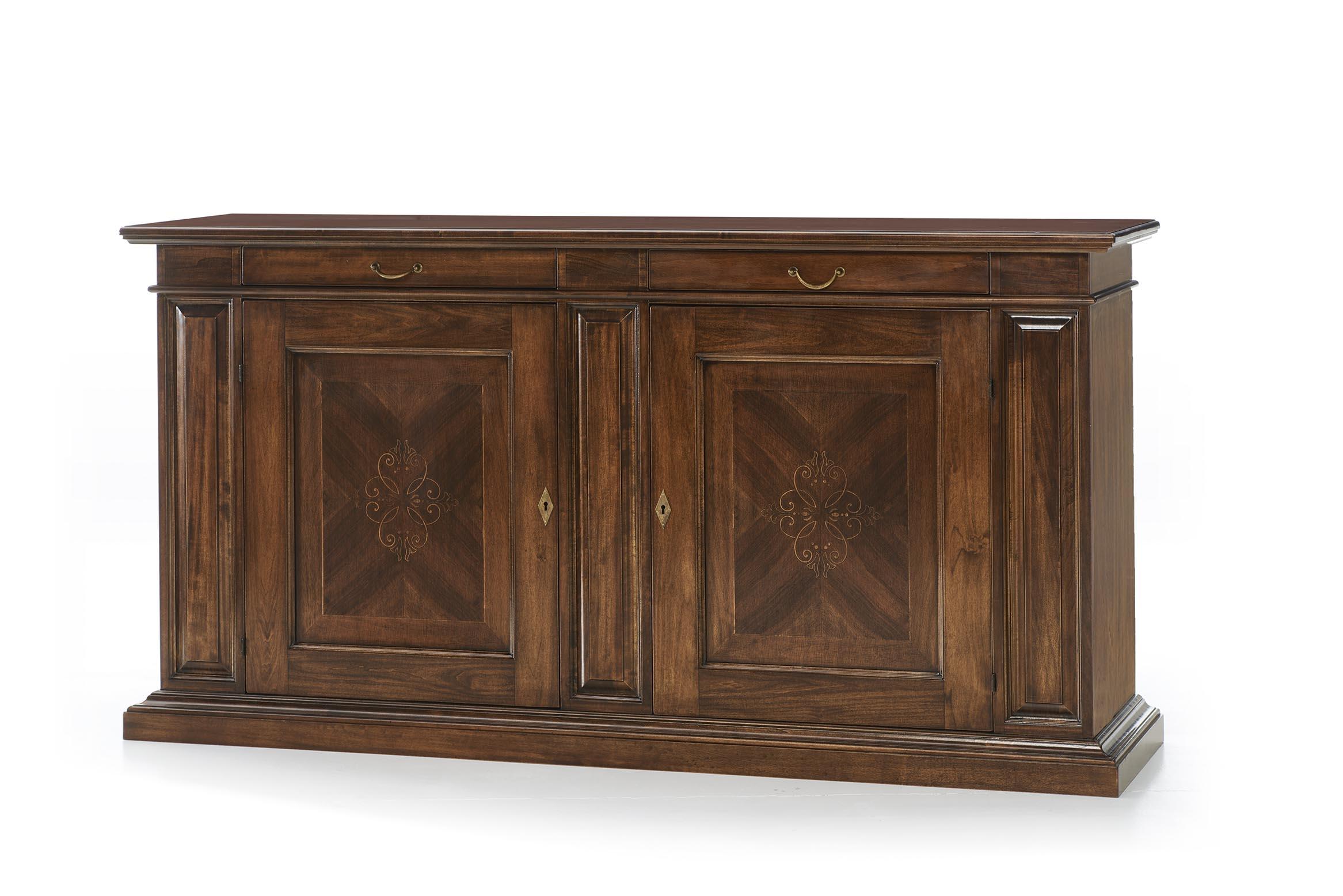 Sala da pranzo con mobili intarsiati in noce con tavolo - Credenza sala da pranzo ...