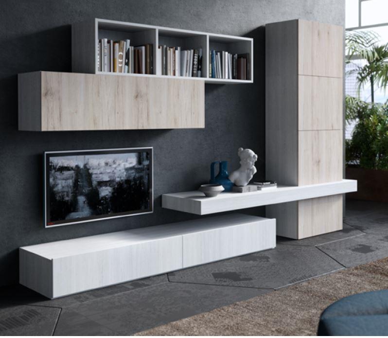 Soggiorno alpe start 003 laminato opaco pareti attrezzate for Arredamento soggiorno moderno in legno