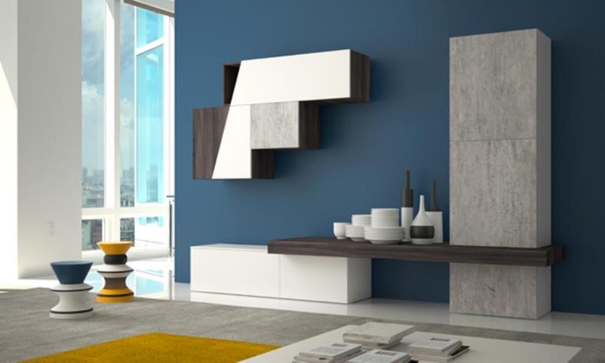 Pareti attrezzate piccole parete attrezzata mod pensiero for Pareti moderni