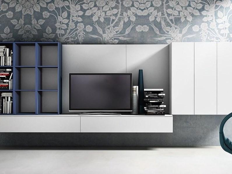 mobili Soggiorno attuale sospeso completo di porta TV E libreria ad alveare