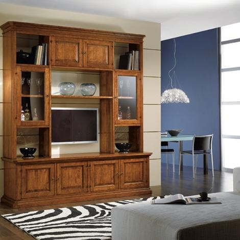 Soggiorno classico in legno con vetrinette e vano porta tv - Mobile porta tv classico legno ...