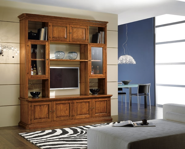 soggiorno classico in legno con vetrinette e vano porta tv ... - Vetrine Da Soggiorno Classiche