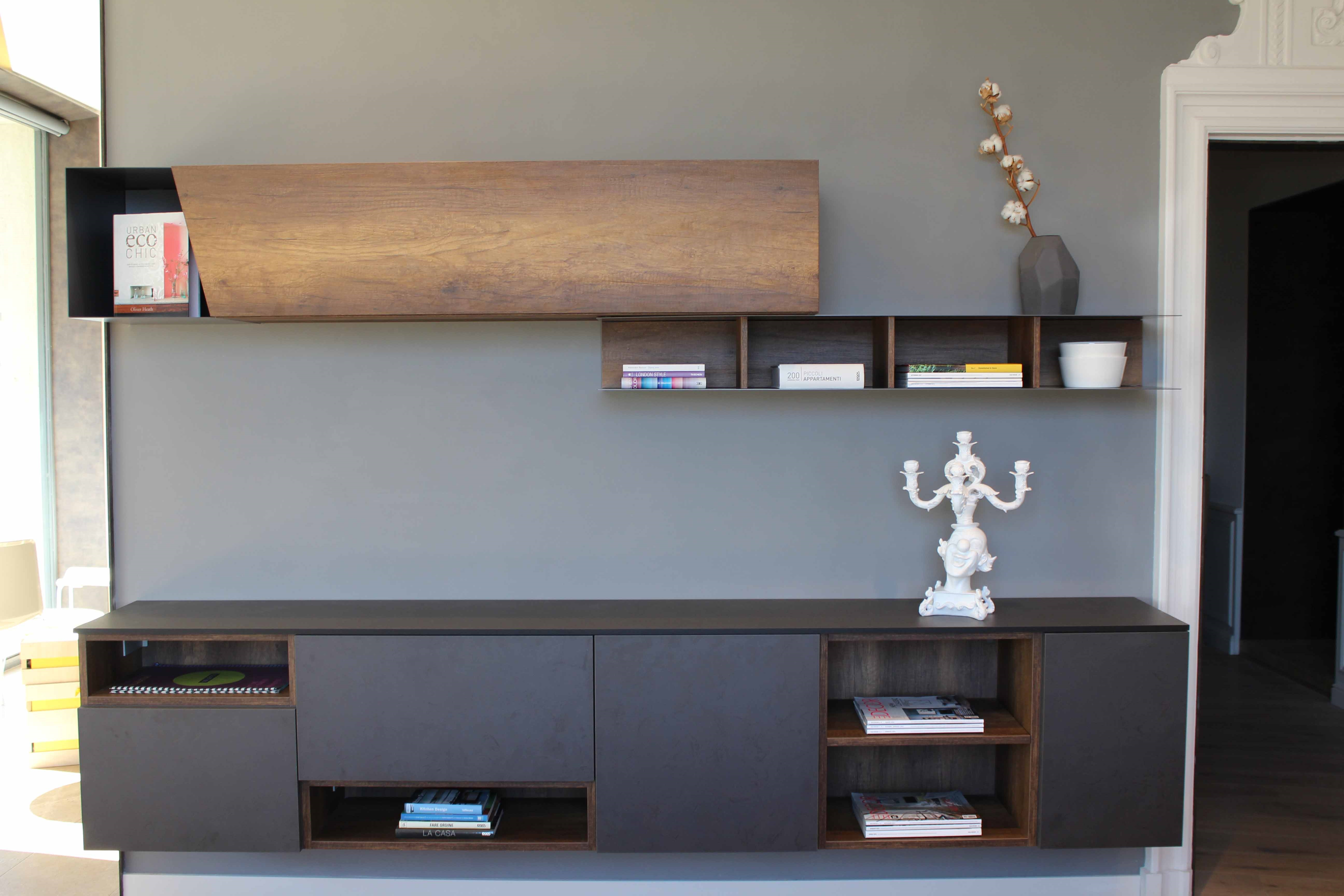 Pareti in legno per interni - Parete attrezzata soggiorno ...