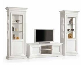Soggiorno completo Artigianale Soggiorno in legno patinato bianco mottes mobili SCONTO 50%