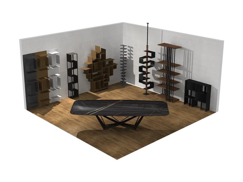 Soggiorno completo Cattelan in legno a prezzo Outlet