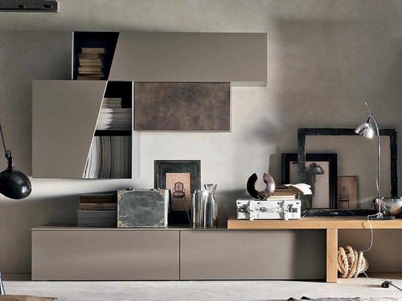 Soggiorno In Stile Moderno.Soggiorno Completo In Laminato Materico Stile Moderno 002 Tomasella
