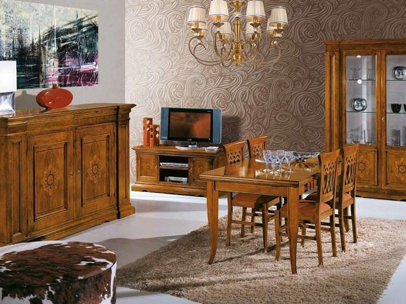 Soggiorno completo in legno stile classico Sala da pranzo completa con  motivi d\'intarsio scontata del 40% Artigianale