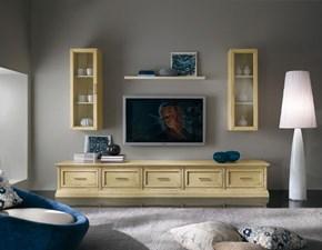 Soggiorno completo Mobile soggiorno base con cassettoni e vetrine mottes mobili Artigianale in legno a prezzo Outlet