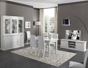Soggiorno completo Sala da pranzo completa in legno colore bianco mottes mobili Artigianale con uno sconto del 50%