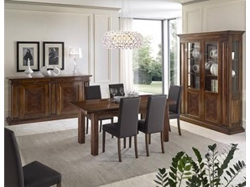Soggiorno completo Sala da pranzo con mobili intarsiati in noce con tavolo  allungabile mottes mobili Arte antiqua in legno in Offerta Outlet