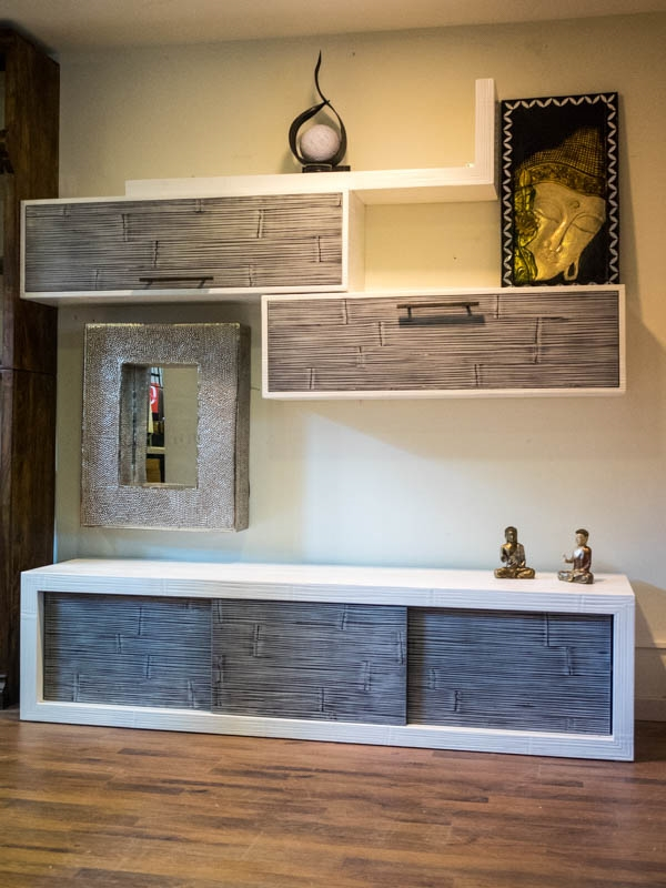 soggiorno etnico in legno e crash bambu grigio e white in offerta - Soggiorni a prezzi scontati
