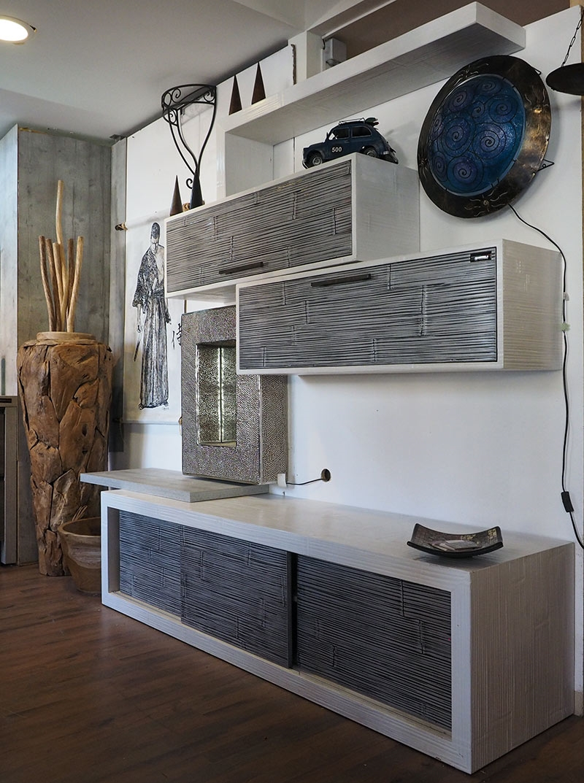 soggiorno etnico in legno e crash bambu grigio e white in ...