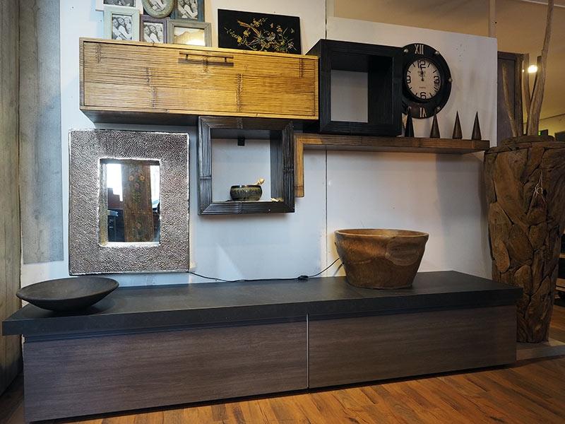 soggiorno etnico industrial in essenza grigio con parete ...