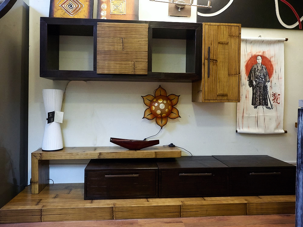 Soggiorno etnico moderno essential legno e bambu in for Arredamento soggiorno moderno in legno
