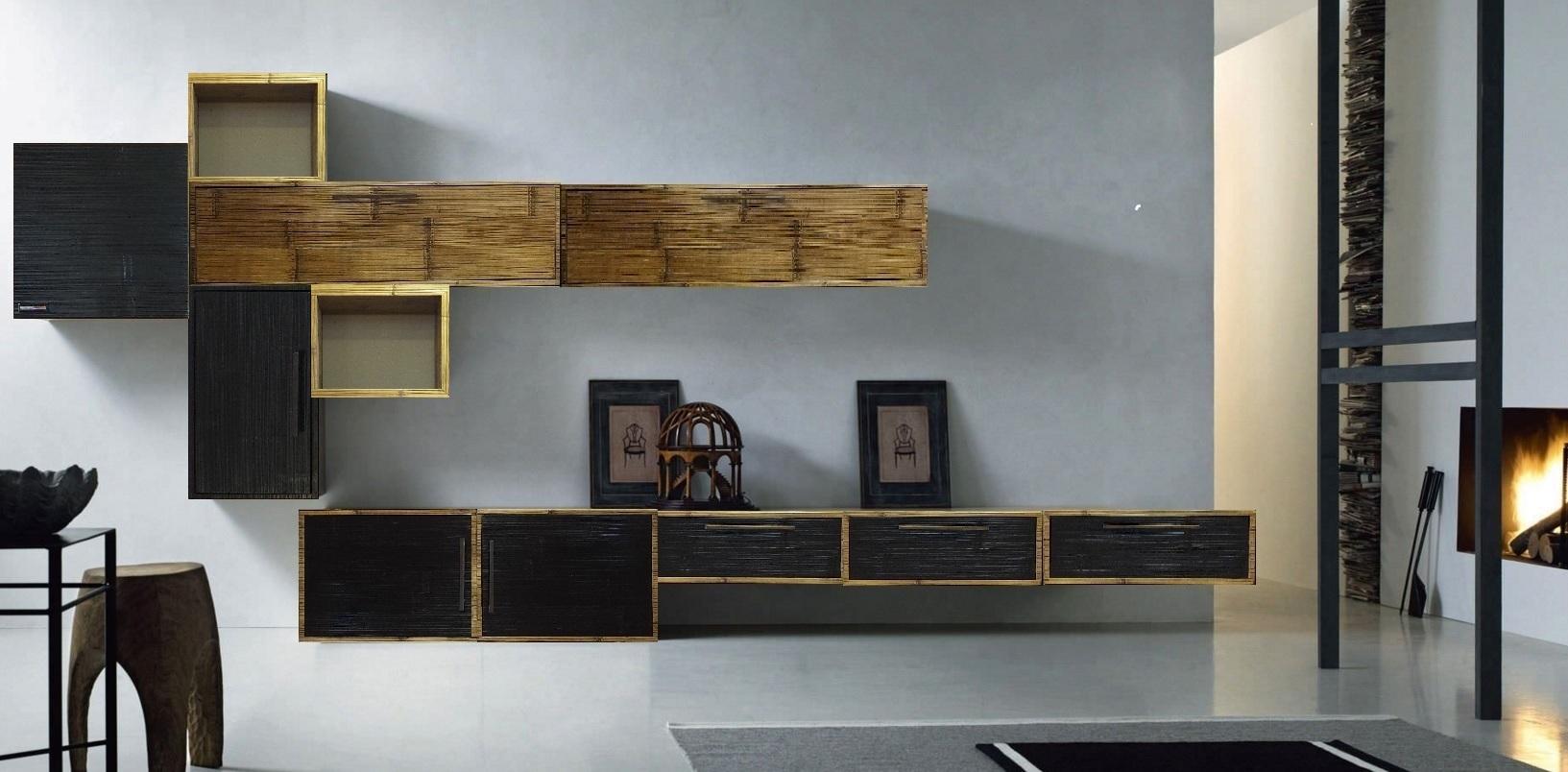 Soggiorno etnico moderno in legno e crash bambu - Soggiorno arredamento moderno ...