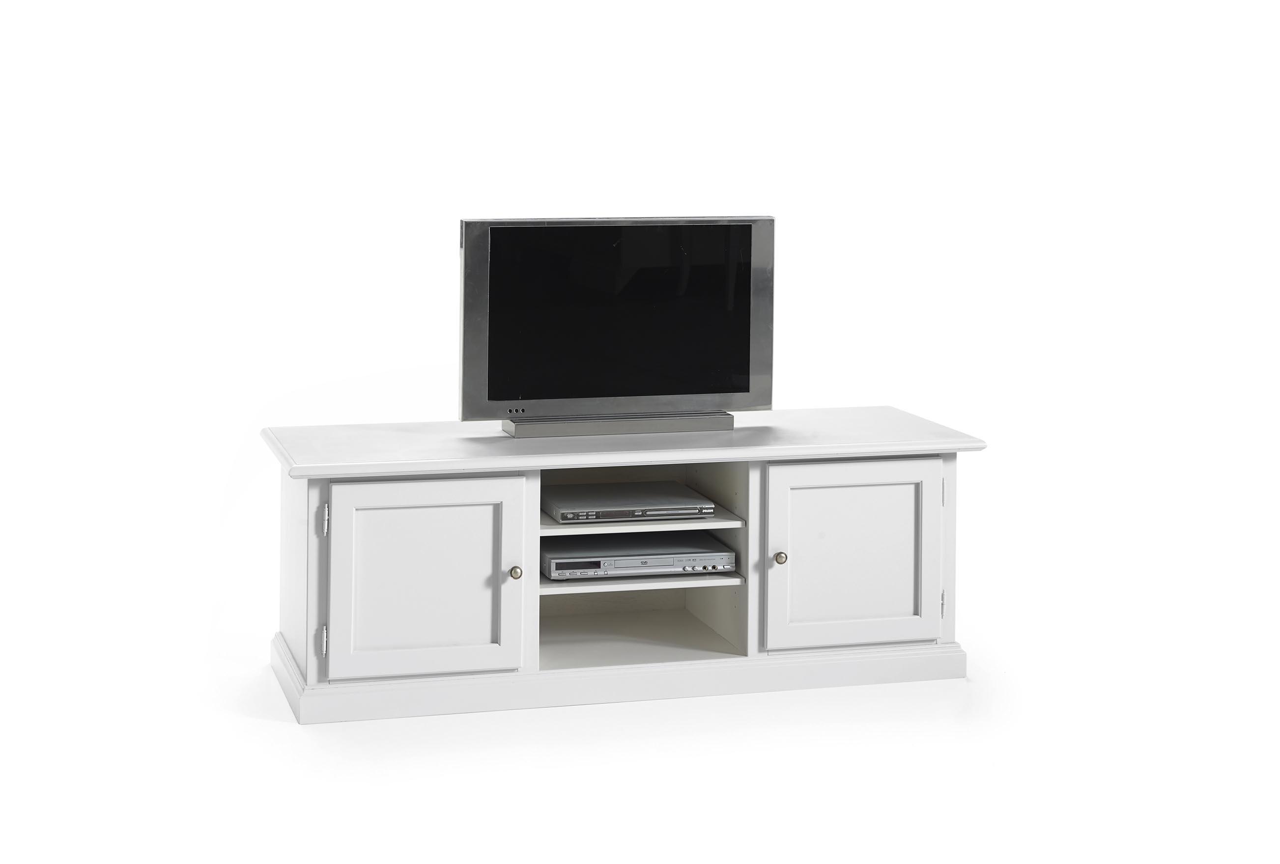 Soggiorno in legno bianco con tavolo sedie mobile tv e credenza. - Soggiorni a prezzi scontati