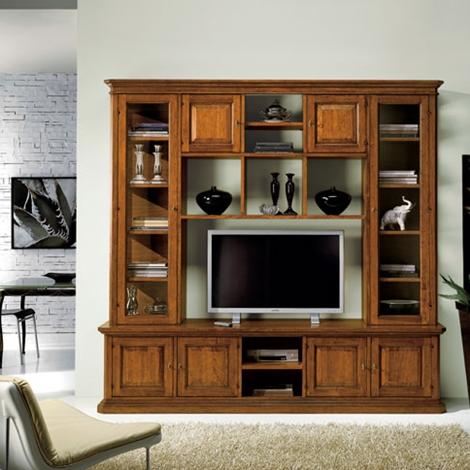 Soggiorno in legno stile classico porta televisione - Soggiorni a prezzi scontati